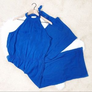 Cloth & Stone NWOT Blue Halter Wide Leg Jumpsuit